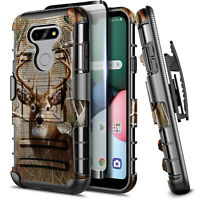 For LG Harmony 4 Phone Case Armor Belt Clip Holster Cover + Built-In Kickstand