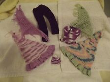 Barbie Crocheted Doll Clothes Handmade 2 Dresses, Pants Suit, Purse & Cover Up
