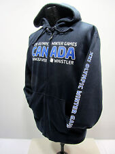 Elevate Canada 2010 Whistler Olympic Men's M Black Full Zip Hoodie Fleece Lined