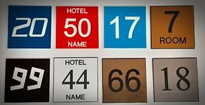 Engraved Door Numbers - Self Adhesive - Any Text / Font 100x100mm Hotel - B&B