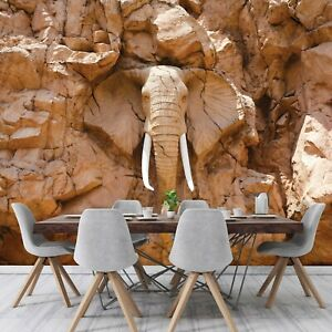 Vlies Fototapete ELEFANT 3D EFFEKT Steinoptik Afrika Wohnzimmer braun XXL 656