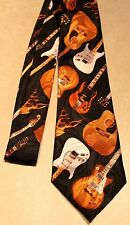 Different Style Guitars- Guitar -On A New Black 100% Polyester Necktie Free Ship