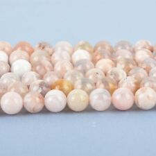 8mm SAKURA AGATE Beads, Round Smooth Peach Pink Gemstone full strand gem0025