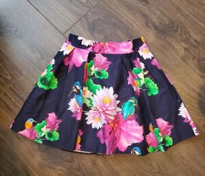 Girls Ted Baker Skirt Age 10 yrs navy pink floral birds