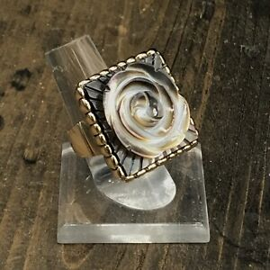 Barse Floral Stretch Ring- Mother of Pearl- Bronze- NWT