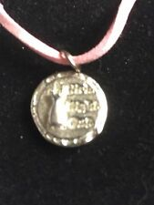 """Girls Night Out Disc TG217 Fine English Pewter On a 18"""" Pink Cord Necklace"""