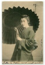 Japanese Woman With Umbrella Japan 1906 postcard