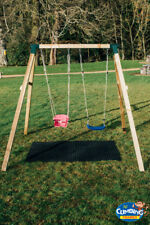 Heavy Duty 90mm Square Wooden Double Swing Set Pressure Treated Playground