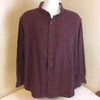 Woolrich Mens Flannel Shirt Red Gray Plaid Long Sleeve XL 100% Cotton Free Ship!