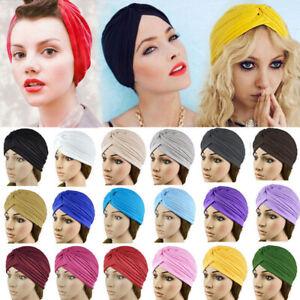 Women Warm Headband Solid Turban Head Wrap Band Chemo Hijab Pleated Indian Cap