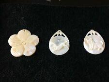 2 ivory freshwater shell pendants animal carvings + 1 flower pendant