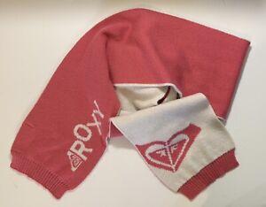 ROXY Pink Scarf Knitted Women White Logo