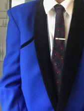 TEDDY BOY DRAPE JACKET.CHEST 40. ROYAL BLUE. VELVET ROLL COLLAR . ROCK'N'ROLL.