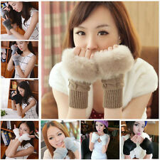 Damen Handschuhe Kunstpelz Winter Fingerhandschuhe Strickhandschuhe Gloves Nue