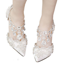 Women BlingBing Crystal Tassel Ankle Strap Wedding Party Shoes Bridal Shoes Sz D