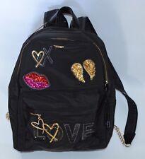 VICTORIA'S SECRET BLACK LOVE SEQUIN PATCHES HEART LIP CITY BACKPACK PURSE BAG
