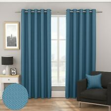 Bondi Woven Textured Chevron Blockout/Thermal Fully Lined Eyelet Curtains Teal