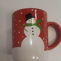 Crate & Barrel Joan Anderson Snowman Coffee Tea 2015 Christmas Winter Red Mug