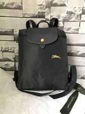 Auth Longchamp Le Pliage Club Collection Horse Embroidery Backpack Bag Gun Metal