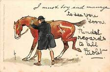 """Brown Horse, Cheval equitation """"I must try and manage"""" 1904"""