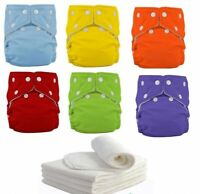 5 PCS+ 5 INSERTS Adjustable Reusable Lot Baby Washable Cloth Diaper Nappies