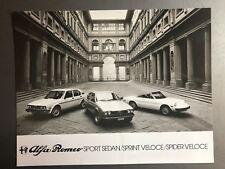 1978 Alfa Romeo Sport Sedan, Sprint Veloce, Spider Veloce Press Photo RARE!!