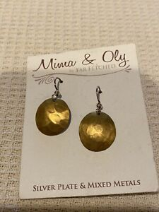 """""""MIMA & OLY BY FAR FETCHED"""" SILVER PLATE & MIXED METALS DANGLE EARRINGS, NEW"""