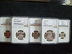 """1955, 5 Piece Franklin Proof Set, Certified """"Proof 67 & 67 Cameo""""  By NGC  WOW!!"""