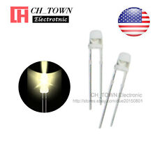 100pcs 3mm Transparent Led Water Clear Warm White Light Diodes Round Top