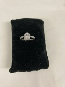 Beautiful Pandora Oval Halo Ring In Silver Size 52
