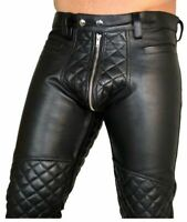 Men Genuine Lambskin 100% Leather Pant Stylish Quilted Black Party Wear Trousers