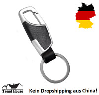 ★ KFZ Auto Schlüsselanhänger Kechain Krabiner Haken Verchromt Leder Carbon Edel★