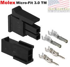 Molex  (2 Circuits) Male & Female Housing w/ Pins 20-24 AWG Micro-Fit 3.0™