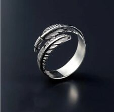 NEW 925 Sterling Silver Feather Ring Band Finger Fully Adjustable Jewellery