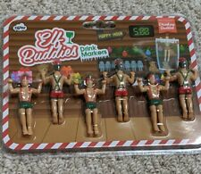 NPW Drinking Buddies Elf Buddies Christmas Drink Markers New Set of 6