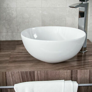 Bathroom Basin Sink Hand Wash Counter Top Wall Mounted Hung Round Bowl Ceramic