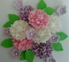 Pink white lilac large flower bouquet Edible sugar paste cake topper Cupcakes