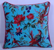 Turquoise Velvet Pillow Case Bird Decorative Throw Floor Indian Cushion Cover