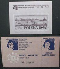 POLAND 1973 Polska 73 Philatelic Exhibition SOUVENIR SHEET + TICKET MNH SGMS2248