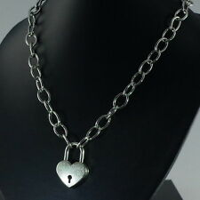 """Heart Padlock Pendant Charm Oval Link Chain Necklace (19.5"""" Long) Silver Color"""