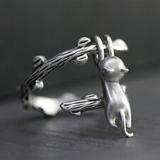Vintage Cute Cat Climbed Branch Open Adjustable Ring 925 Silver Wedding Jewelry