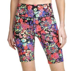 "Calvin Klein Bike Shorts Performance High Waist w/Pocket Floret Sz Small 9"""