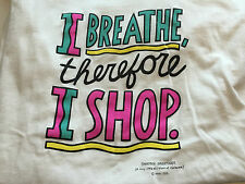 80s 90s Shoebox Greetings Hallmark humor XL T-shirt I BREATHE, THEREFORE I SHOP
