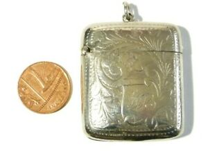 Antique Curved Silv Plated  Vesta Case Match Safe Fob with WB Initials #V99