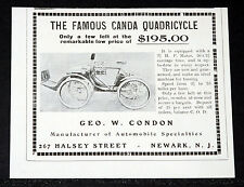 1903 OLD MAGAZINE PRINT AD, FAMOUS CANDA QUADRICYCLE, 2 1/2 HP, ONLY A FEW LEFT!