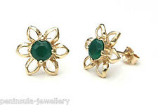 9ct Gold Green Agate Flower Stud Earrings Made in UK Gift Boxed Studs