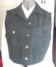 Ladies Green Western Suede Leather Show Vest sz S new