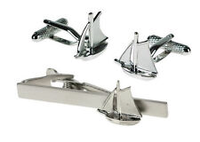Yacht Sailing Cufflinks Cuff Links & Tie Bar Gift Set With Silver Sails
