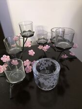 Partylite Cherry Blossom Votive/Tealight Holders 2 Metal And One Glass