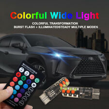 2pcs T10 5050 W5W 6 SMD Remote Control RGB LED Car Dome Reading Light Lamp Bulb